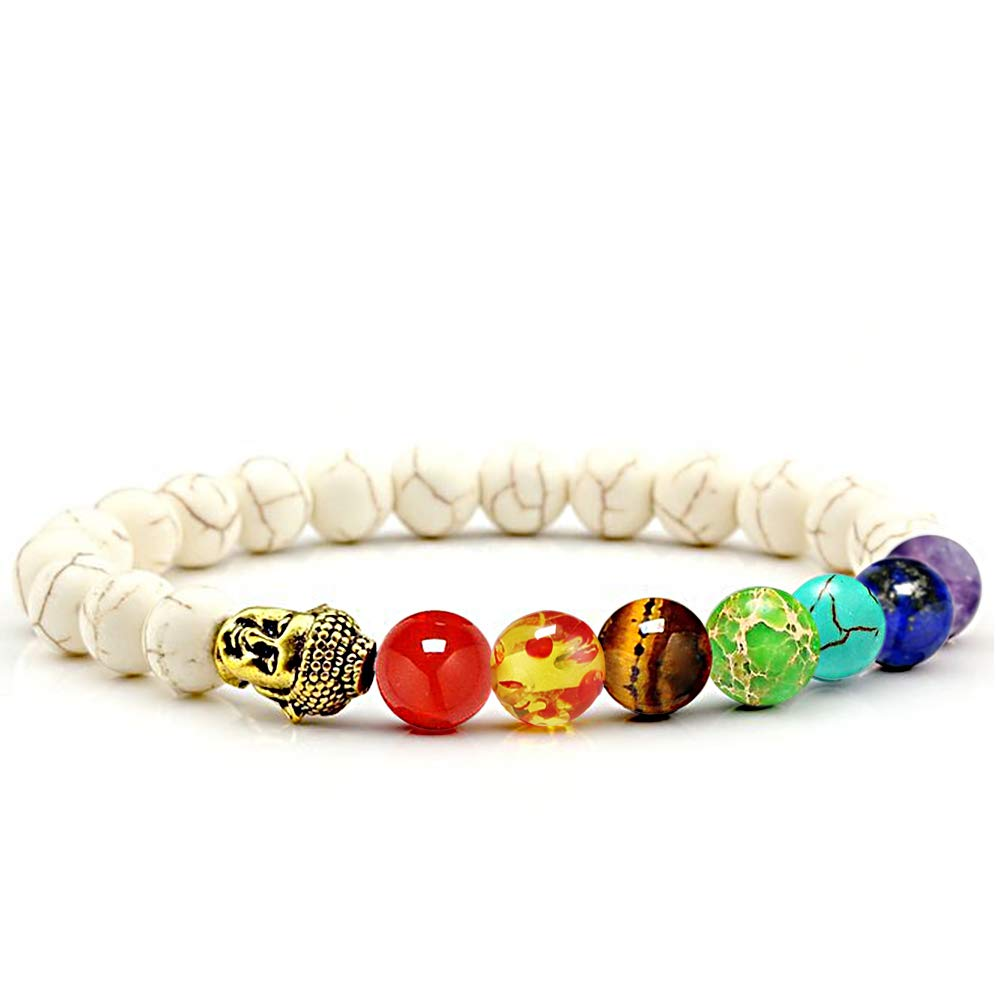 CLÉMENT & HILTON 7 Chakra Healing Meditation Bracelet Women Men 8mm Natural Stone Yoga Energy Beads