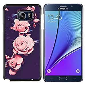 Rose Vignette rosa pétalo de la flor Negro- Metal de aluminio y de plástico duro Caja del teléfono - Negro - Samsung Galaxy Note5 / N920