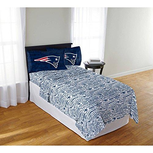3 Piece Nfl Patriots Anthem Sheet Full Set, Football Themed Bedding Sports Patterned, Team Logo Fan Merchandise Athletic Team Spirit Fan, Nautical Blue Red Silver White, (New England Patriots Pillowcase)