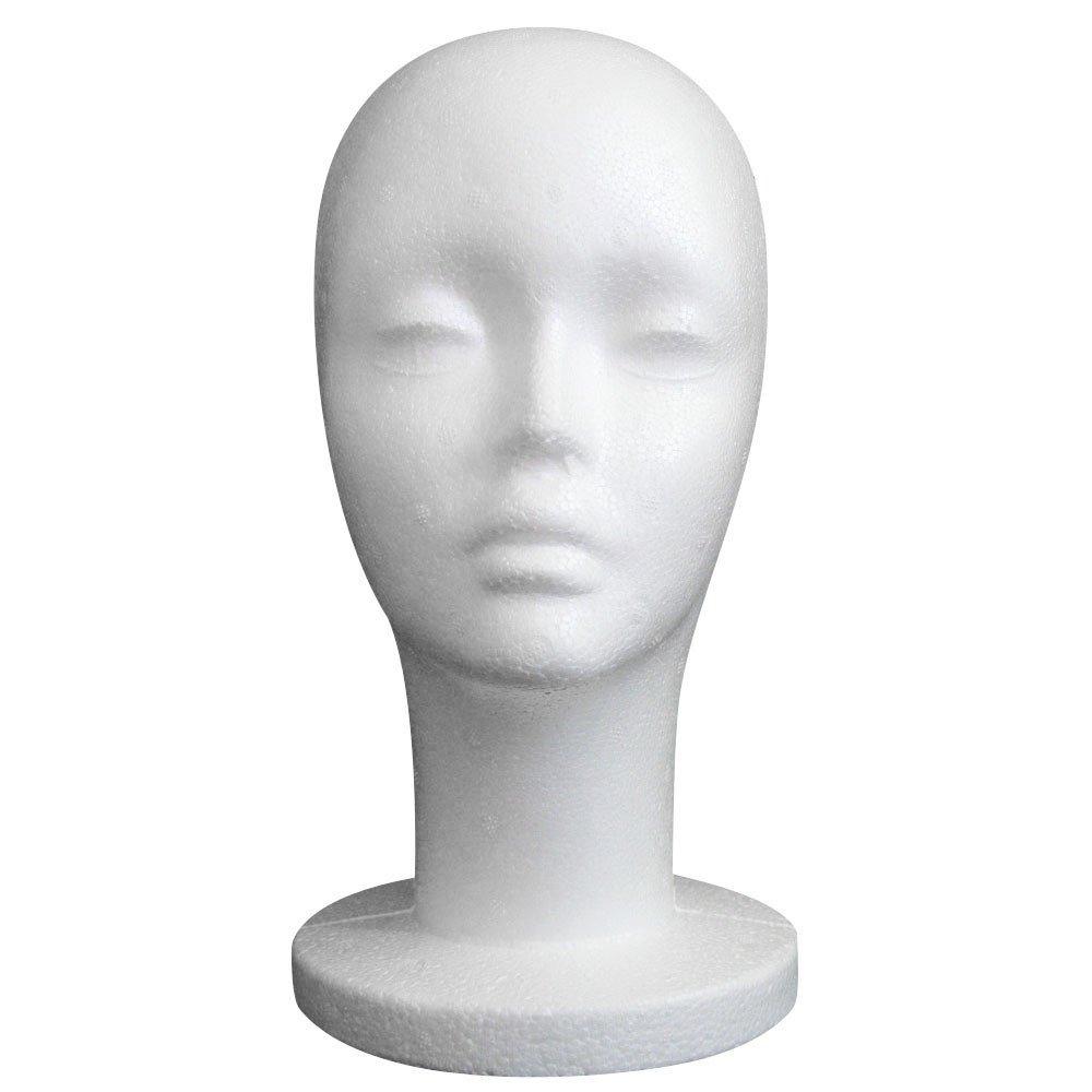 Hennta Mannequin Head, White Female Styrofoam Mannequin Manikin Head Model Foam for Dummy Wig Hair Glasses Hat Cap Headphone Jewelry Stand Display