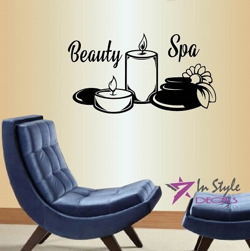 Wall Vinyl Decal Home Decor Art Sticker Silhouette Beauty Spa Salon Shop Sign Candles Room Removable Stylish Mural Unique Design For Any Room Creative Design Logo House (813 Fashion Shop)