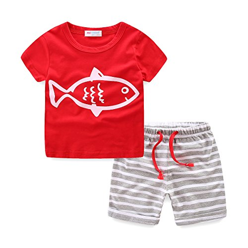 (Toddler Boys Summer Clothes Print T-Shirt and Stripe Shorts Set Red Size 4T)