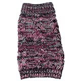 PET LIFE 'Royal Bark' Heavy Cable Knitted Designer Fashion Pet Dog Sweater, Small, Pink, Black and Grey