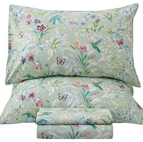 (Queen's House Sheets Butterfly Bird Print Bed Sheet Collection Set-Queen,R )