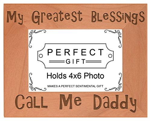 - ThisWear Dad Blessings Call Me Daddy Natural Wood Engraved 4x6 Landscape Picture Frame Wood