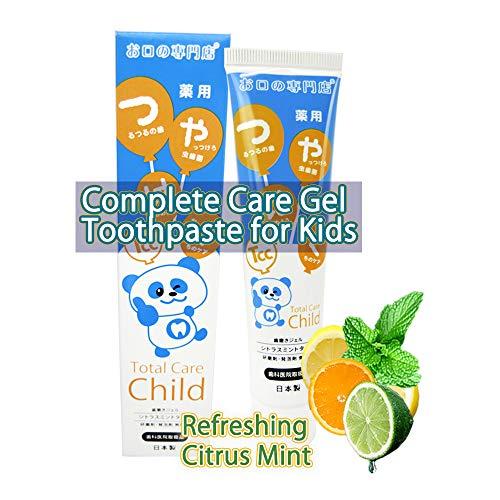 (艶白 Tsuyahaku Tcc(TOTAL CARE CHILD) KIDS Complete Care Fluoride Toothpaste Gel with Xylitol   SLS Free   NO Abrasives - Suitable For Sensitive Teeth & Gums   Citrus Mint Flavor 60g   Made in Japan)