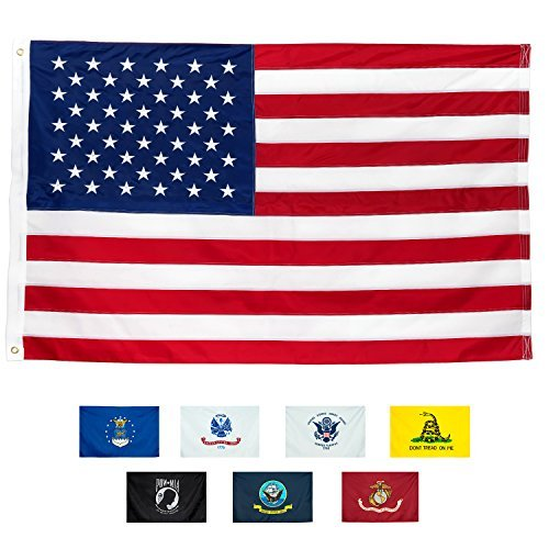 American Flag 3x5' | 100% Guarantee | Heavy Duty | Embroidered Stars | Sewn Stripes | 210D Oxford Nylon | Quadruple Stitched Fly End | Brass Grommets for Easy Display | U.S. Flag ()