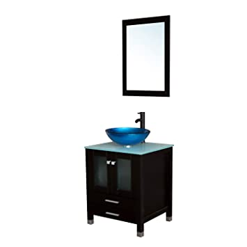 Sliverylake 24 Bathroom Vanity Tempered Glass Vessel Sink Combo