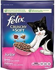 FELIX Crunchy & Soft Junior Kittenvoer droog, met kip en groenten, 4-pack (4 x 950 g)