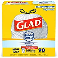 Glad OdorShieldTall Kitchen Drawstring Trash Bags -13 Gallon White Trash Bag - 90 Count (Packaging May Vary)
