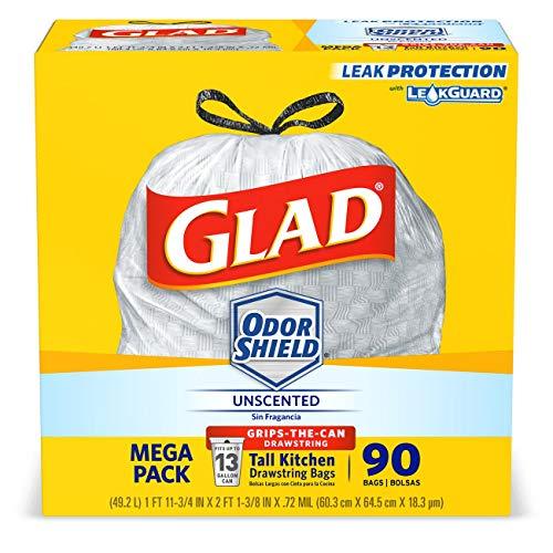 - Glad OdorShieldTall Kitchen Drawstring Trash Bags -13 Gallon White Trash Bag - 90 Count (Packaging May Vary)