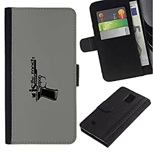 Billetera de Cuero Caso Titular de la tarjeta Carcasa Funda para Samsung Galaxy Note 4 SM-N910 / Education Is A Weapon Message / STRONG