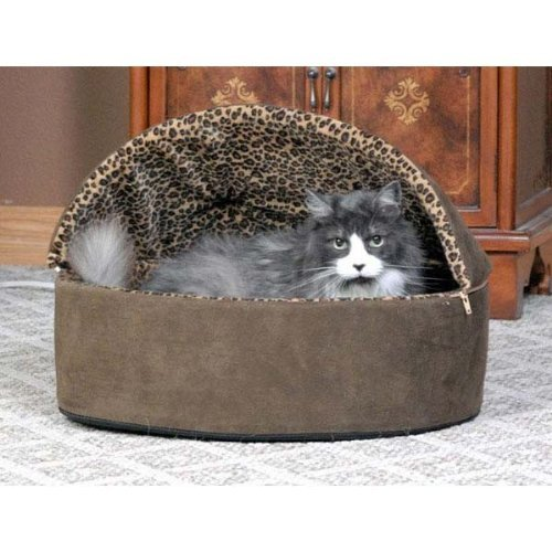 Thermo-Kitty Bed Deluxe Hooded Small Tan Leopard 16'' x 16'' x 14'' 4 watts by K&H Pet Products