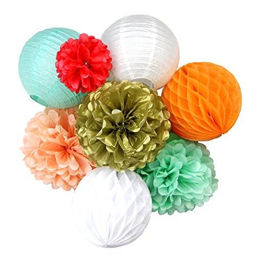 SUNBEAUTY Coral Mint Peach Gold Paper Lanterns Home Party Wedding Honeycomb Balls Tissue Pom Poms Flower Valentines Hanging Decor