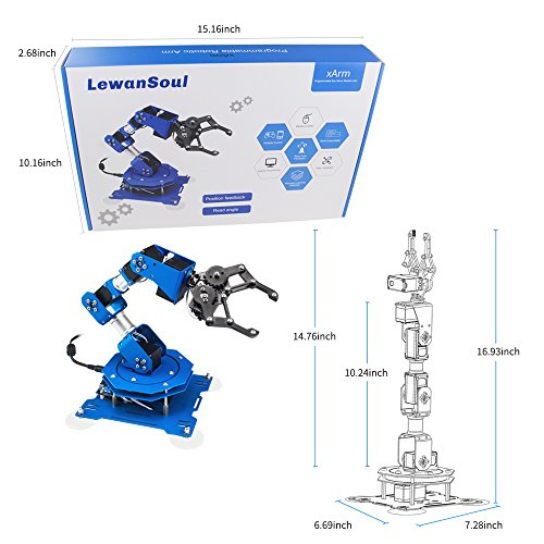 LewanSoul xArm 6DOF Full Metal Programmable Robotic Arm with Feedback of Servo Parameter, Wireless/Wired Mouse Control, Mobile Phone Programming for Arduino Scratch by LewanSoul (Image #8)