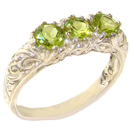 925 Sterling Silver Real Genuine Peridot Womens Band Ring   Size 10