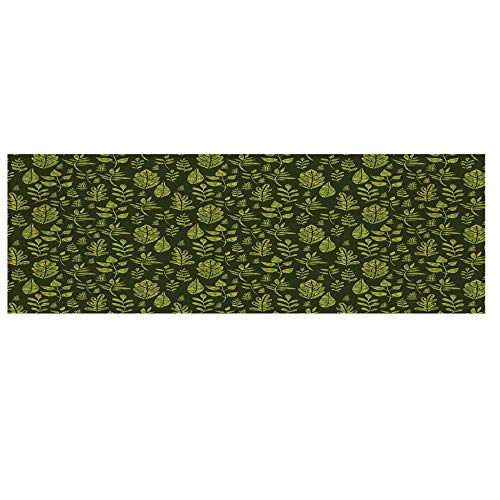 "Sage Microwave Oven Cover with 2 Storage Bag,Patterned Green Leaves Nature Inspired Composition Fresh Trees Woodland Decorative Cover for Kitchen,36""L x 12""W ()"