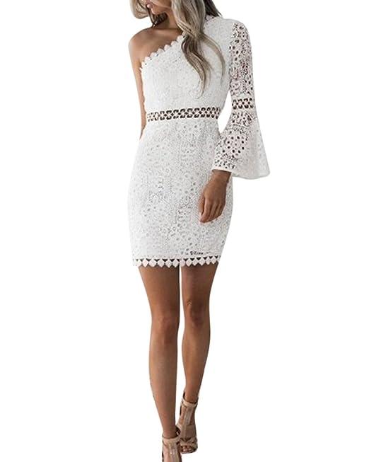 Vestito Donna Eleganti da Cerimonia da Sera Pizzo Abito Monospalla Corti  Vestiti Amazon.it Abbigliamento