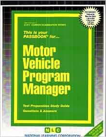 Motor Vehicle Program Manager Passbooks Jack Rudman