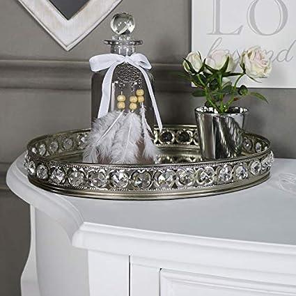 Melody Maison Large Oval Mirrored Jewel Display Tray Amazon Co Uk Kitchen Home