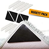 Non Slip Rug Grippers by Ducki - 2 Unique Grip Pad Styles for Superior Control of your Rug - Best Gripper Pads for Anti Curling & Sliding - Corner Stickers & Carpet Runner for Hardwood Floors - 12pc