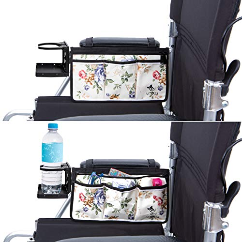 Wheelchair Side Bag with Large Cup Holder - Arm Rest Pouch and Drink CupHolder - Wheel Chair Accessories Organizers and Water Bottle Holder Fits Walkers, Rollators for Seniors and Handicap (Floral)