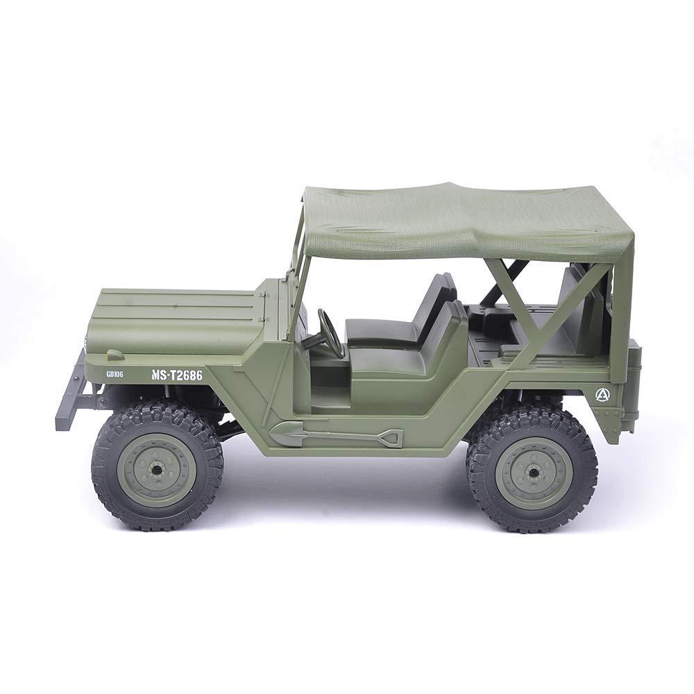 Armyvert 3 batteries Mogicry Télécomhommede sans Fil United States Military Jeep 2.4 Ghz Escalade Tout Terrain à télécomhommede Voiture Enfant Adulte Quatre Roues RC Voiture garçon Cadeau pour Les Enfants de 3 Ans et