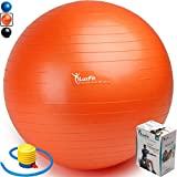 Exercise Ball, LuxFit Premium EXTRA THICK Yoga Ball '2 Year Warranty' - Swiss Ball Includes Foot Pump. Anti-Burst - Slip Resistant! 45cm, 55cm, 65cm, 75cm, 85cm Size Fitness Balls (Orange, 85cm)