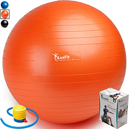 Exercise Ball, LuxFit Premium EXTRA THICK Yoga Ball '2 Year Warranty' - Swiss Ball Includes Foot Pump. Anti-Burst - Slip Resistant! 45cm, 55cm, 65cm, 75cm, 85cm Size Fitness Balls (Orange, 55cm)