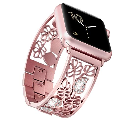 fastgo Compatible for Apple Watch Band 38mm Women, 2019 Elegant Diamond Metallic Carved Floral Jewelry Curve Bracelet Straps for Series 4 3 2 1 (Rose Pink, 38mm/40mm)