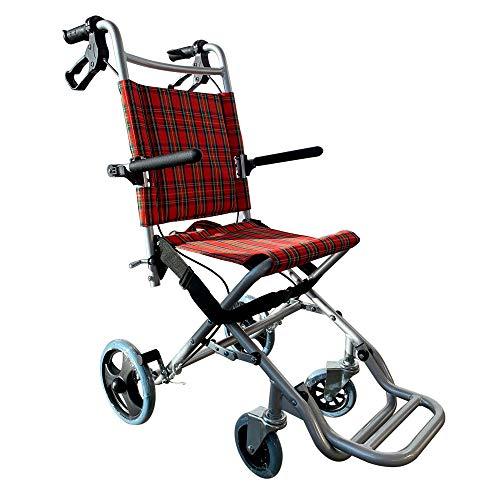 Mobiclinic, Neptuno, Silla de ruedas de transito, para minusvalidos y ancianos, plegable, aluminio, freno en manetas, reposapies plegables, reposabrazos abatibles, ligera, cinturon seguridad, rojo