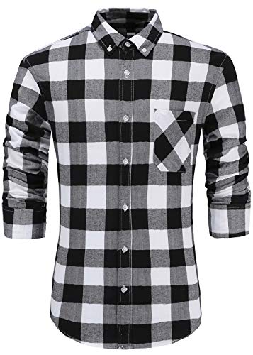 GoldCut Mens 100% Cotton Slim Fit Long Sleeve Button Down Plaid Dress Shirt XL Black White