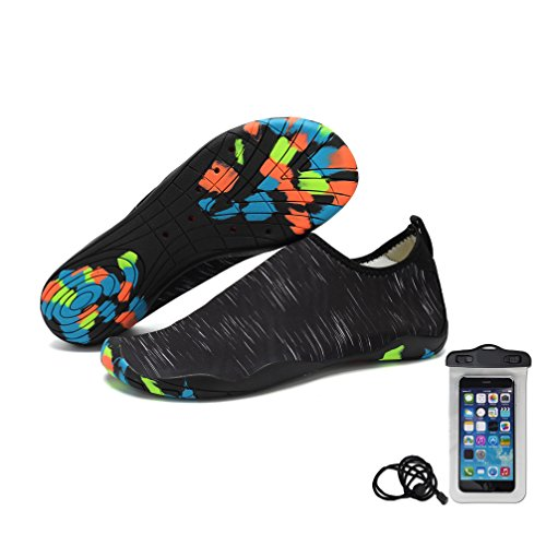 HLM yoga Toes Shoes Beach Swim Proof Pool Tennis Casua Size 11 10 8 6 9 .5 Black Blue White Red Pink L Indoor Breathable Swiming Running Barefoot Shoes Socks (US Women-8.5/Men-8 - Black)