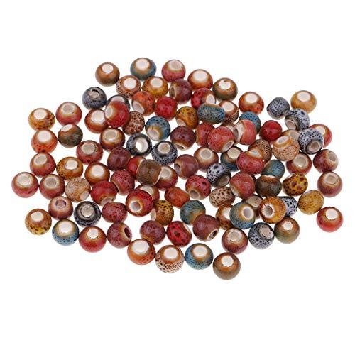 Fenteer 50 Pieces Enamel Ceramic Spacer Large Hole European Beads for DIY Necklace Bracelet Sewing Art Craft Decoration 6mm