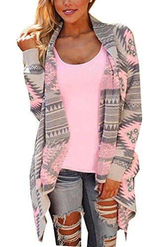 Elegante Donna Minetom Maniche Cardigan Rosa In Geometrica A Maglia Lunghe Irregolare Jacket Da Sweatercoat Maglione Stampa xfqpXzfHw