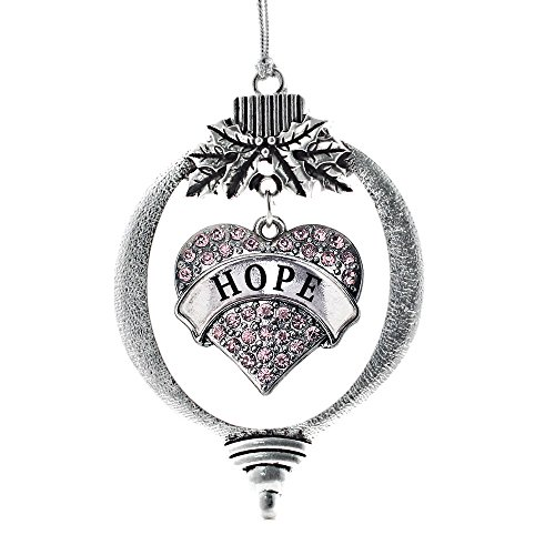 Inspired Silver - Hope Charm Ornament - Silver Pave Heart Charm Holiday Ornaments with Cubic Zirconia Jewelry