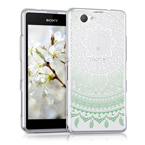 kwmobile TPU Silicone Case for Sony Xperia Z1 Compact - Crystal Clear Smartphone Back Case Protective Cover - Mint/White/Transparent