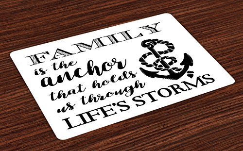 Ambesonne Family Place Mats Set of 4, Family is Anchor That Holds Us Inspiration Stylized Writing Anchor with Rope, Washable Fabric Placemats for Dining Room Kitchen Table Decor, Black and White (Rope Inspirations)