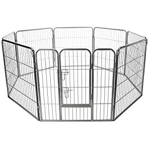 Wire Pen Dog Fence Playpen - Pet Dogs & Cats Outdoor Exercise Pens - Tube Gate w/Door - (8 Panel / 30 Square Feet Play Yard) Heavy Duty Portable Folding Metal Animal Cage Corral Tall Fences 36