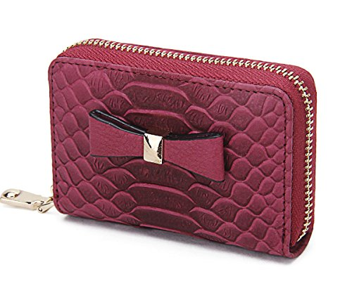 Contacts Genuine Leather Card Holder Zipper Case Wallet Coin Purse 12 Card Slots Wine Red ()