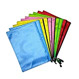 SZmiyang Zipper File Bags 10pcs Clip-on Zipper Envelope Pouch Water-resistant Storage Bags for A4 Term Papers, Office Document, Newspapers, Business Receipts, Magazines Clip And More