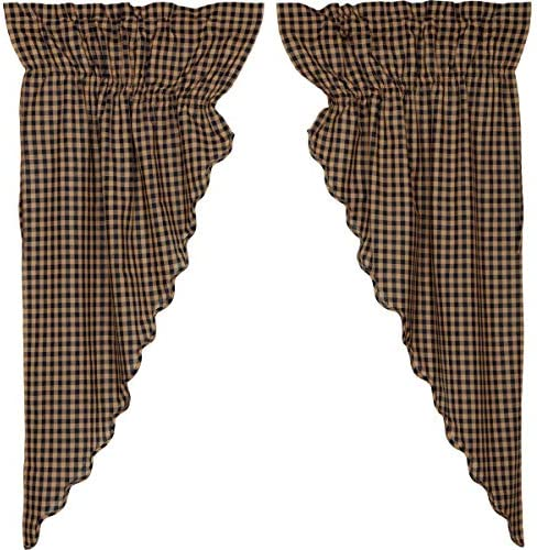 VHC Brands Classic Country Primitive Window Check Blue Scalloped Prairie Curtain Pair, x King, Navy