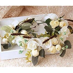 Showking Creative Party Supplies Bohemian Artificial Camellia Wreath Bride or Bridesmaid Headband_White 46
