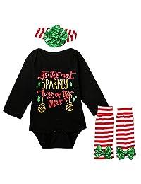 Scfcloth Baby Girls Long Sleeve Romper + Leg Warmers + Headband Christmas Outfits