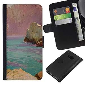 A-type (World Pink Rocks Blue Sea) Colorida Impresión Funda Cuero Monedero Caja Bolsa Cubierta Caja Piel Card Slots Para HTC One M7