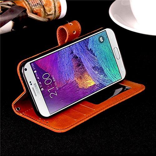 SRY Caja de la carpeta del tirón del cuero de la PU con el soporte y ranura para tarjeta con el cierre magnético para la nota 4 de la galaxia de Samsung ( Color : Black ) Khaki