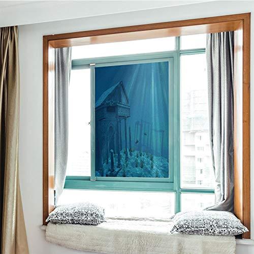 YOLIYANA Modern Glass Window Film No Glue Privacy Window Cling 3D Ocean Decor Glass Stickers for Bathroom 24