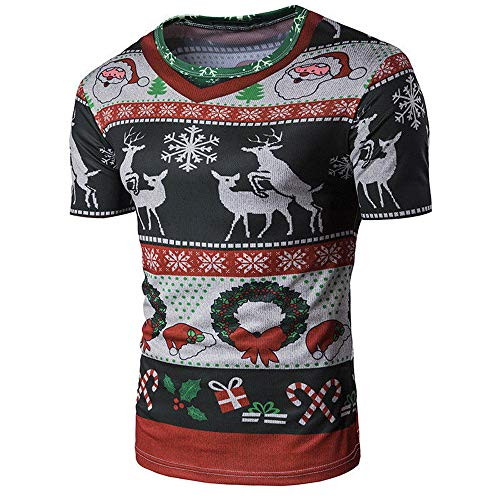 ANJUNIE Christmas Unisex Printing Tees Short Sleeve T Shirt Casual Tunic ()