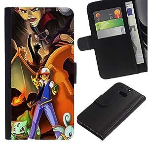 """A-type (Pokemn Equipo"""") Colorida Impresión Funda Cuero Monedero Caja Bolsa Cubierta Caja Piel Card Slots Para HTC One M8"""