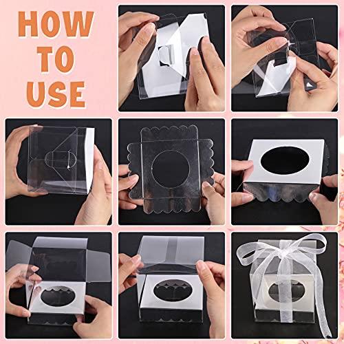 Clear Favor Boxes, 35 PCS Plastic Gift Boxes Transparent Cube Boxes PET Boxes for Wedding, Party, Baby Shower, Bridal Shower